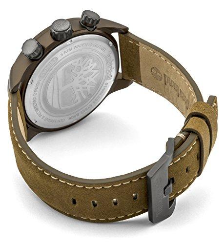 2bbd46dcf14f Timberland Henniker II - Reloj de hombre de cuarzo beige con esfera  analógica pantalla y correa de cuero marrón oscuro 14816jlbn 07 de  Timberland