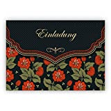 Im 16er Set privat & gewerblich: Schicke Einladungskarte mit schönem Blumen Muster in orange schwarz zur Hochzeit, Taufe, Diner etc: Einladung - auch für Firmen Kunden und Geschäftspartner