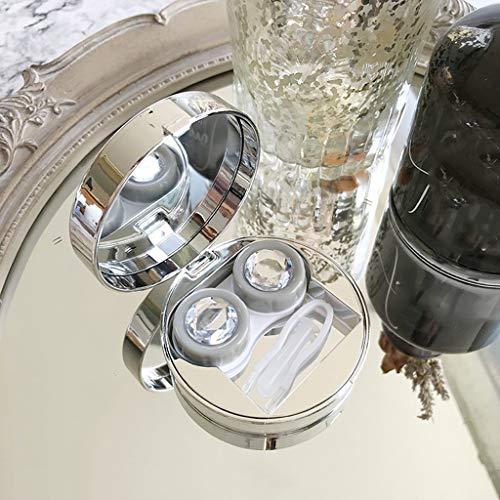 QIYINGYING Runde Kontaktlinse Box Diamant schöne Schüler Box Kristall-Doppel-Box High-End-Begleitbox unsichtbare Myopic Spektakel-Box weißblaues Gold -