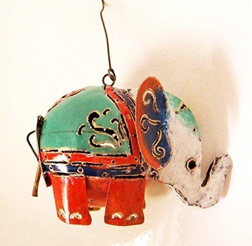 éléphant En forme de pendant bougie support, acier peint 22.9cmx17.8cm