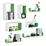 7 tlg Wandregal Set, Regalbrett schwebend, Hängeregal Wand, U-Form Wandboard, CD Regal schmal, versch. Größen, weiß-grün