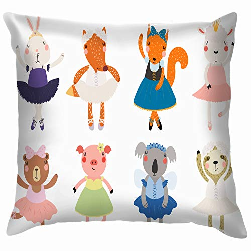 Set Cute Funny Little Animals Ballerinas Wildlife Animal Pillow Case Throw Pillow Cover Square Cushion Cover 18X18 Inch -