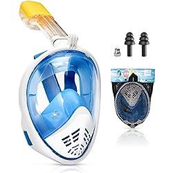 Kupton Masque Facial Tuba, Masque de Plongée Panoramique à Vision de 180 Degrés pour Adultes et Enfants, Respiration Libre et Design Antibuée, Technologie Antifuite avec Support GoPro
