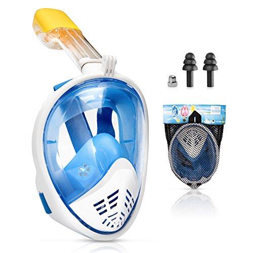Kupton Vollgesichts-Schnorchel Maske, 180 Grad Panorama Blick Tauchmaske für Erwachsene und Kinder, Freie Atmung und Beschlagfreies Design, Wasserdichte-Technologie mit GoPro Mount Halterung -