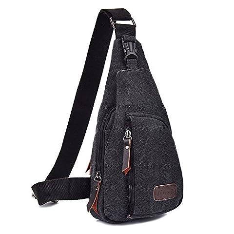 Minetom Men Solid Color Zippers Logo Decoration Hard Wearing Fashion Casual Canvas Mini Daypacks Cross (Tela Sling)