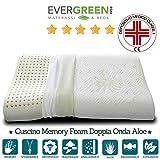 Evergreenweb Cuscino Memory Foam per Cervicale con rivestimento in Tessuto Aloe Vera 72x42