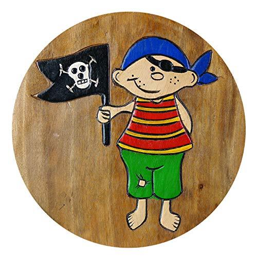 ART-CRAFT KH164 Kinderhocker Holz Schemel mit Pirat und Flagge und beschnitzt Höhe 27 cm