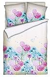 Brandsseller Baumwoll-Satin Bettwäsche Bettbezug Garnitur Set Laura - für Kopfkissen und Bettdecke - mit Reißverschluss -Blume/Multicolor