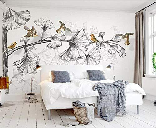SKTYEE Ginkgo Biloba Bird Fototapete für TV Backsplash Luxury Wall Decor Heimwerker Natur Baum Blätter Tapete, 430x300 cm (169.3 by 118.1 in) -
