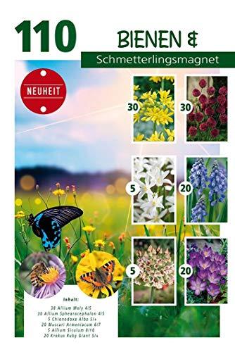 Quedlinburger Bienen- und Schmetterlingsmagnet, bunte Blumenzwiebelmischung aus farbenfrohen Frühjahrsblühern, 110 Stück