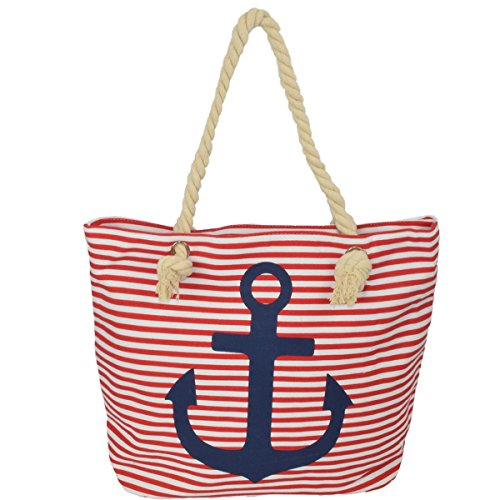 Sonia Originelli Strandtasche Anker Lena Beachbag Shopper Maritim Farbe Grau-Rosa Rot-Marine