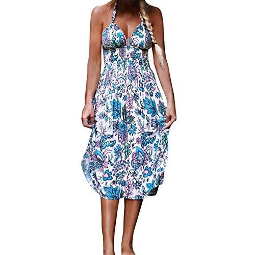OverDose Damen Sommer Chiffon Maxikleid Weinlese Boho Ärmellos Neckholder Maxikleid Abendkleid Partei V-Ausschnitt Strand Blumenkleid Beach Kleider (L, Blau)