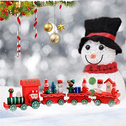 ILOVEDIY 4Stück Weihnachten Deko Vintage Zug Tisch Dekorations Spielzeug für Kinder Grün Rot Weiß (Rot)