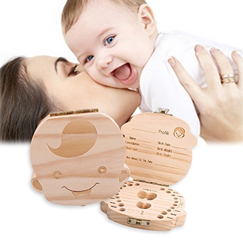 Nniuk denti scatoletta scatola dei ricordi in legno adorabile personalizzata scatola denti da latte idear per bambini