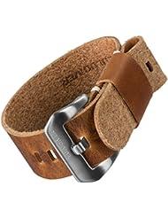 Bracelet de montre ZULUDIVER® cuir véritable USM NATO Marron clair 22mm
