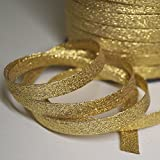 Biais lurex or, Biais couture doré de belle qualité (Par mètre)