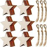 Tatuo 60 Stücke Natürliche Holz Stern Ausschnitte Form Holz Stern Verzierungen und 60 Stück Natürliche Schnur für Weihnachten Home Party Dekoration