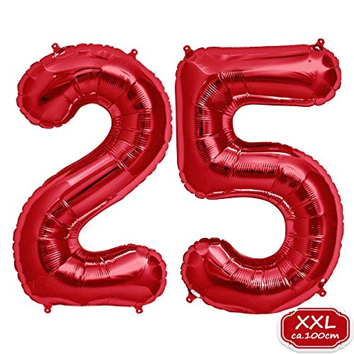 Zahl in Rot- XXL / ca.100cm Riesenzahl Ballons - Folienballons für Luft oder Helium als Geburtstag, Hochzeit , Jubiläum oder Abschluss Geschenk, Party Dekoration (Rot [ 25 ]) ()
