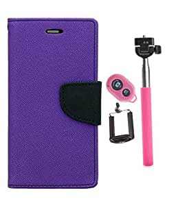 Aart Fancy Diary Card Wallet Flip Case Back Cover For Samsung S5 - (Purple) +Remote Aux Wired Fashionable Selfie Stick Compatible for all Mobiles Phones By Aart Store