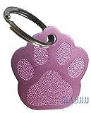 MACHU - Médaille forme empreinte patte chien couleur ROSE personnalisable - 2,8 cm X...