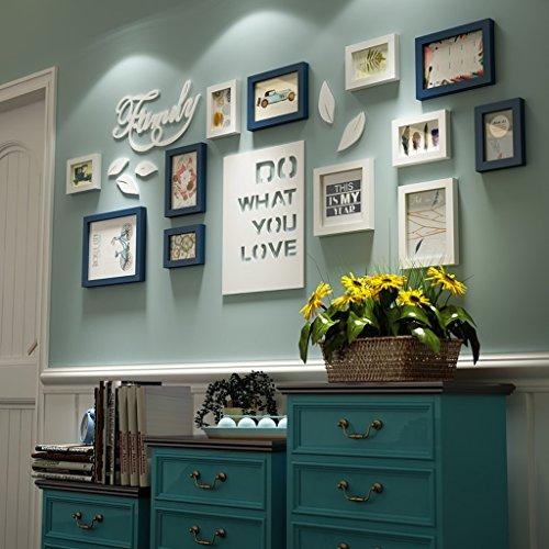 Bilderrahmen Collage Brief pastoralen schlafzimmer wohnzimmer massivholz kreative kreative foto wand ornament rahmen wand Fotorahmenwand ( Farbe : Blau und weiß )