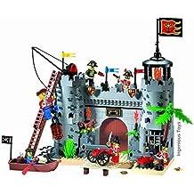 INGENIOUS Toys Piratas Castillo ataque GUARDIAS REALES 7 Figuras Barco CAÑONES / Construcción Bloques Juguetes Set #310