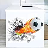 WandSticker4U- Wandtattoo in 3D Optik: Fussball mit Feuer |
