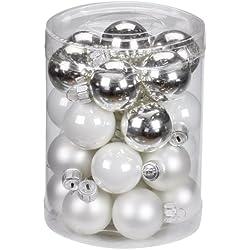 Inge-glas 1900D001 Palle di Natale da 30 mm, 28 pezzi, colore: Argento lucido/bianco opaco/Porcellana