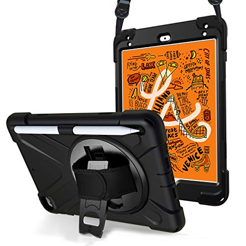 ProCase Rundum Schtzhülle iPad Mini 5/ Mini 4, 360 Grad Drehbar Kickstand Case Cover mit Verstellbarer Handriemen Schultergurt, 3 in 1 Stoßfest Schutzhülle für iPad Mini 5th Gen/Mini 4 2015 -Schwarz (Ipad 4 Gen)