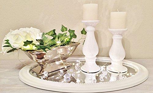 DRULINE Keramik Kerzenleuchter Rund Kerzenständer Kerzenhalter Windlicht Weiß Shabby 2er-Sparset