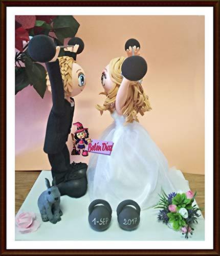 Fofuchas Novios enamorados boda con mascota y pesas