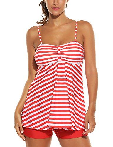 Avidlove Frauen Sexy Zwei Stück Spaghetti Strap gepolsterte gestreifte Badeanzug Badeanzug Strand tragen Tankini Set Medium,  Stil 1:Rot (Badeanzüge Für Damen Tankini-set)