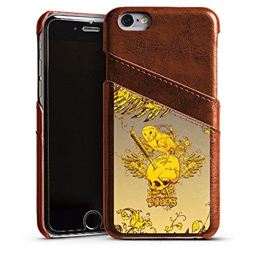 Apple iPhone 5s Housse Étui Protection Coque Crâne Crâne Hibou Étui en cuir marron