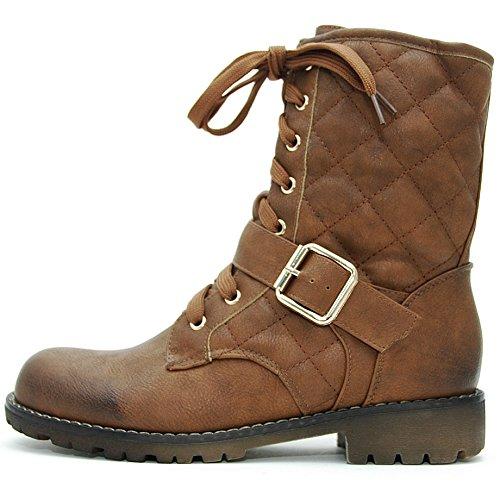 SAlin Shoes© Biker Boots gesteppt Used Look (36, Braun) -