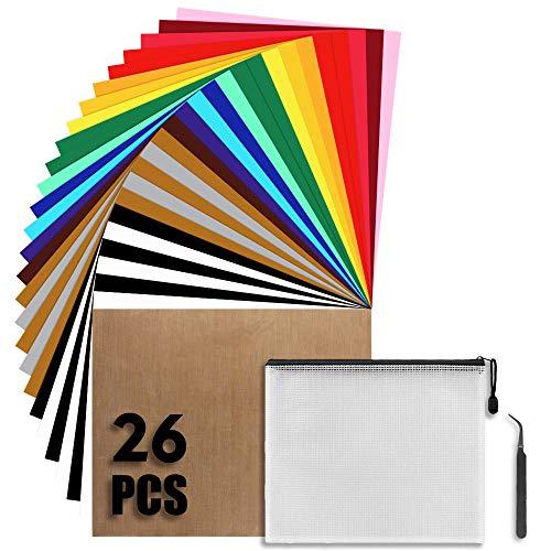 """26 Stück Wärmeübertragung Vinyl Textilfolien Transferpapier 12""""x 10"""" Plotterfolie 17 Farben zum Aufbügeln von T-Shirts Dokumentenmappe mit Reißverschluss und Aussonderungswerkzeuge"""