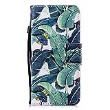 Misteem Coque Galaxy A8 2018, Coloré Flip Case Magnétique Carte Portefeuille Étui Couleur Fantaisie Motif Cuir Antichoc Housse pour Samsung Galaxy A8 2018 (Feuille Verte)