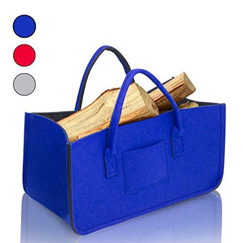 Amazy Filz Kaminholztasche mit Kleiner Seitentasche - Dekorativer Aufbewahrungskorb für Kaminholz, Zeitungen oder Nähzubehör (Blau)