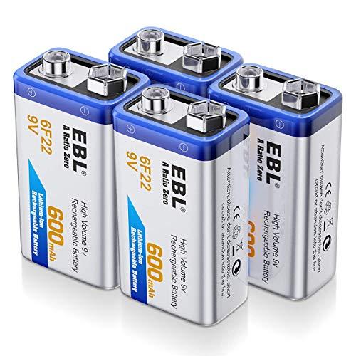 EBL 9V Batterie Ricaricabili da 600mAh Li-ion,6F22 9V Ricaricabili Senza l'Effetto della Memoria Anche è Auto-Scarica Bassa,Confezione da 4 pezz