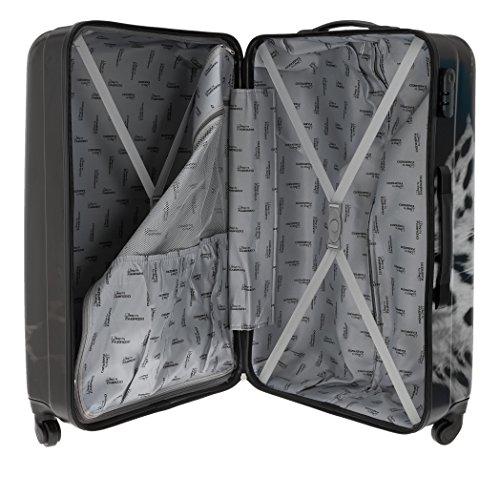 FABRIZIO Hartschalenkoffer Koffer ABS Kunststoff mit Polycarbonat Film + Koffergurt + Flüßigkeitenbeutel (Leopard SET 60 + 70 cm) Leopard 70 cm