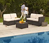 Keter Modus Outdoor 4 Seater Rattan Lounge Garden Furniture Set - Brown with Cream Cushions