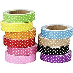 Deko de plástico de cinta adhesiva, diseño de lunares, 1,5cm x 5m, 10rollos | Washi Tape | Masking Tape | banda decorativa, plástico cinta adhesiva, puntos, lunares, Polkadots, 10colores diferentes