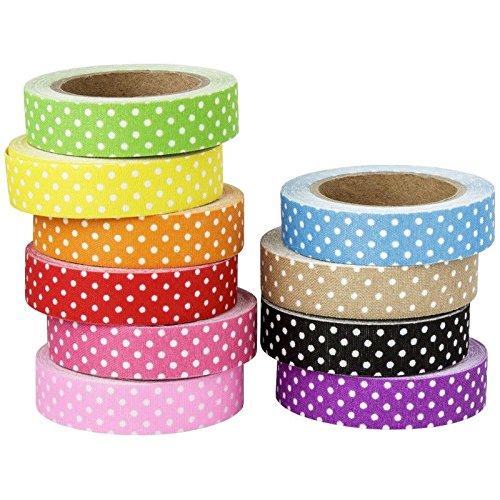 Deko-Stoff-Klebeband, gepunktet, 1,5cm x 5m, 10 Rollen | Washi Tape | Masking Tape | Dekoband | Stoffklebeband, Punkte, gepunktet, Polkadots, 10 verschiedene - Deko-tape