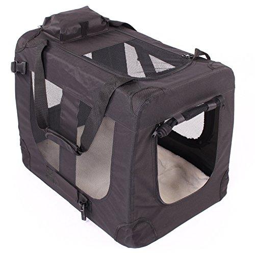 TRESKO Transportbox faltbar inklusive Polster Hundebox Autobox Katzen in Verschiedenen Farben & Größen (S, Schwarz)
