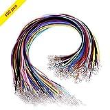 Youngrich 100pcs cerato filo intrecciato corda cordone catena collana con argento catenaccio colori assortiti per gioielli fai da te