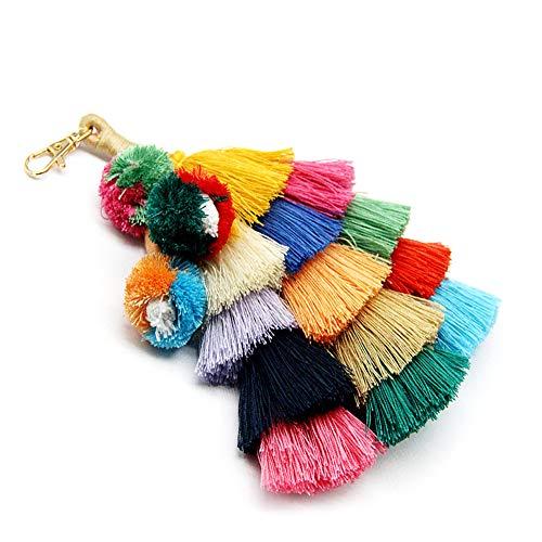 Gland Pom Pom Chaîne Porte-clés Charme Boho Porte-clés, Accessoires De Mode À La Main pour Femmes Sac À Main/Sac/Décor De Voiture Coloré (A01)