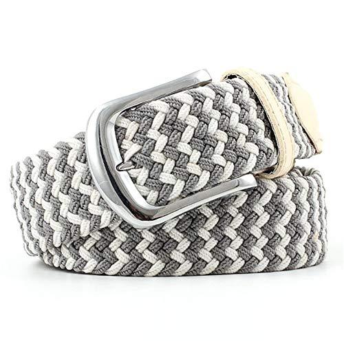 Glhkkp-ac Damen-Taillengürtel Canvas Woven Elastic Stretch Belts Geflochtener Stretch Gürtel für Frauen Für Frauen Jeans Hosen Kleid (Farbe : Grau, Größe : Free Size) -