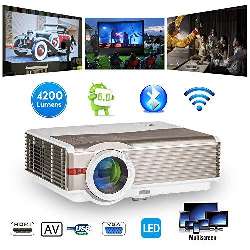 Inalámbrico Bluetooth Proyector 5000 lumen HDMI 1080P Teatro en casa Bluetooth Proyector LCD Android Proyector Bluetooth WXGA LED Película interior exteriores para teléfonos Mac USB TV DVD Laptop XBOX