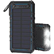 Tingso, caricabatterie power bank portatile a energia solare, 20000mAh, doppia USB, impermeabile, con accendisigari e torcia, per iPhone iPad Samsung smartphone