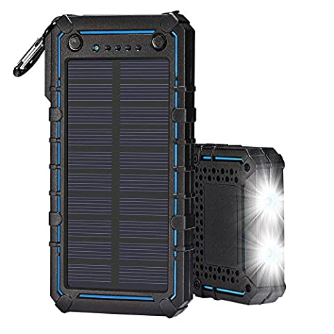 Solar Power Charger Tingso 20000mAh Portable chargeur de téléphone portable externe double USB Panneau solaire chargeur de batterie solaire imperméable chargeur de banque de puissance avec fonction d'éclairage et allume-cigare pour iPhone/iPad Samsung téléphones portables