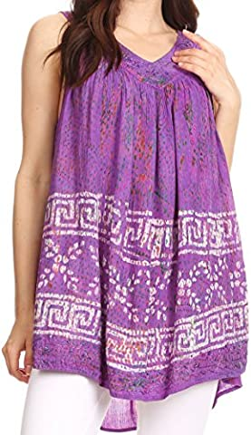 Sakkas S-4-85683 - Badalea Long Embroidered Sequin Beaded Batik Shirt Printed Tank Top Blouse - Purple - OS
